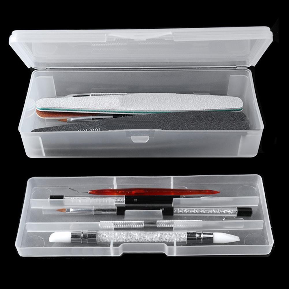 Double-layer Rectangle Translucent Plastic Storage Box Nail Dotting Drawing Brush Pen Polishing Sponge Buffer Container Case