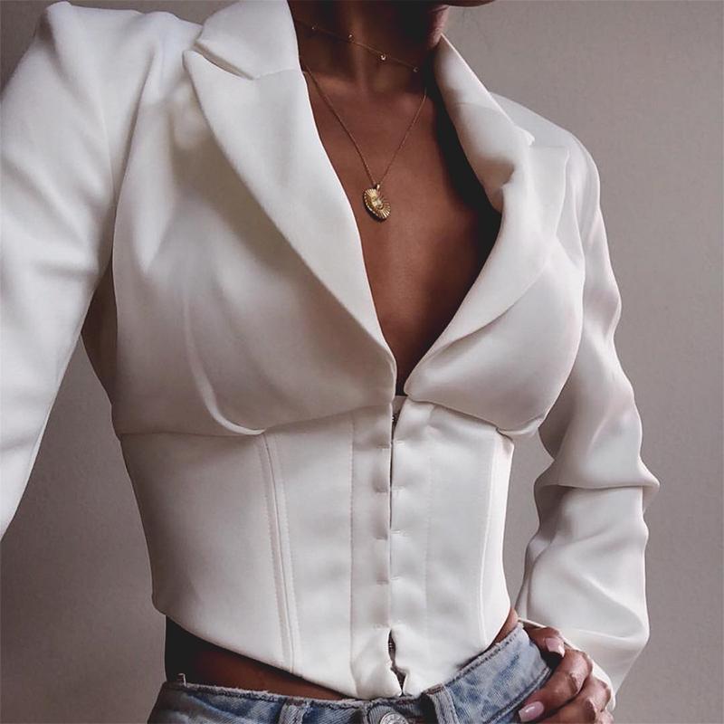 Misswim Elegant V Neck Blazer Women Autumn Coat 2019 Vintage Short Jacket Women White Office Ladies Party Club Sexy Mini Outwear