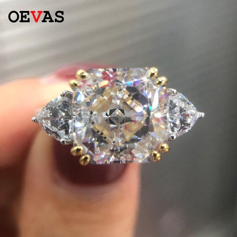 Carré de luxe AAAAA + Zircon anneaux de mariage pour les femmes réel 925 en argent sterling étincelant blanc rose jaune CZ bijoux de fiançailles