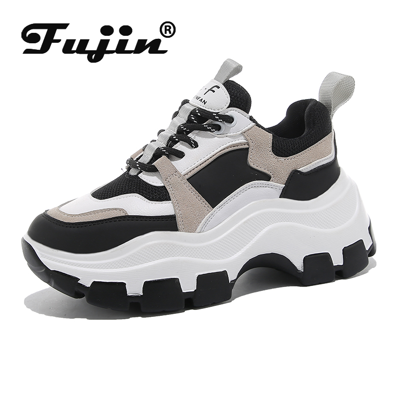 Fujin Sneakers Women Spring  Women's Sneakers High Soled White Black Thick Summer Chunky Shoes Breathable Leisure Women Shoes