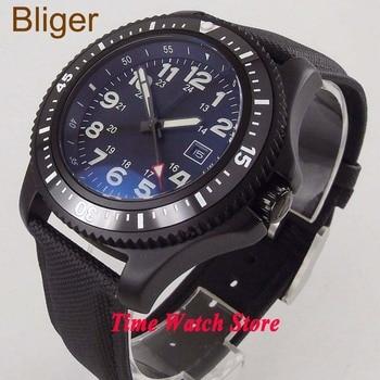 44mm no logo waterproof leather strap black steel PVD blue dial luminous ceramic bezel 21 jewels automatic wrist watch men 152