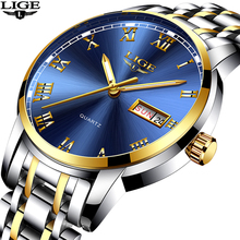 купить Relogio Masculino LIGE Watch Men Fashion Business Mens Watches Top Brand Luxury Sports Full Steel Waterproof Quartz Gold Watch по цене 976.32 рублей