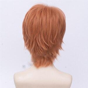 Image 5 - Anime donné Sato Mafuyu Cosplay perruque courte Orange foncé résistant à la chaleur cheveux synthétiques déguisement dhalloween perruques + bouchon de perruque gratuit