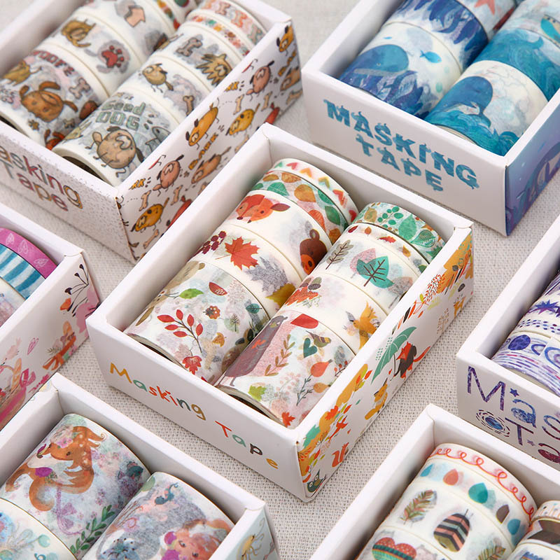 10Pcs/Set Kawaii Blue Ocean Decorative Adhesive Tape Cute Animal Washi Tape Flower Masking Tape For Scrapbooking DIY Photo Album