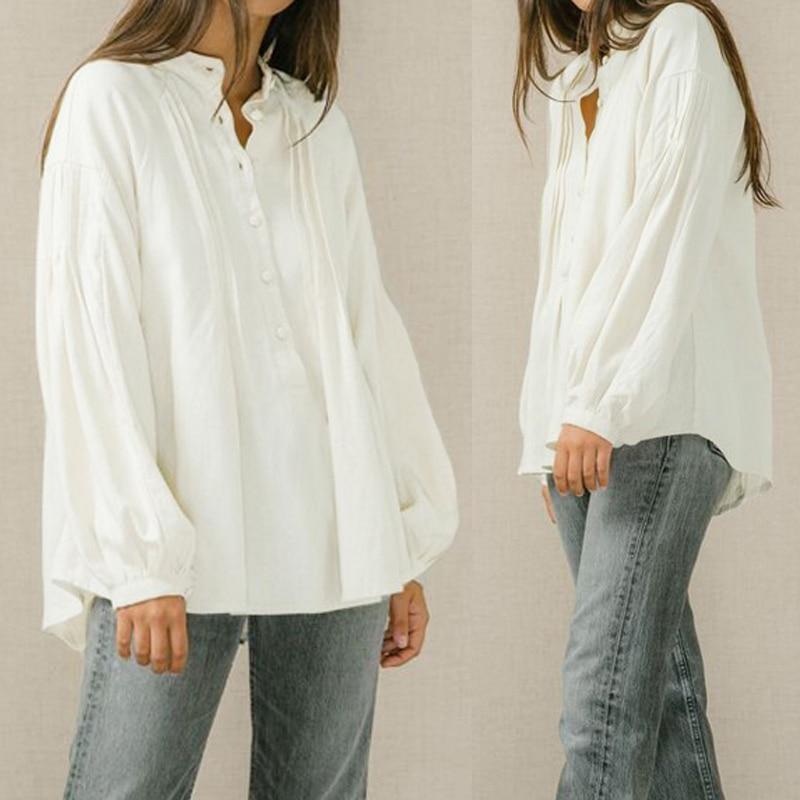 Women Tunic Tops Vintage Linen Blouses Celmia 2019 Autumn Long Sleeve Casual Solid Buttons Female Shirts Loose Blsuas Plus Size