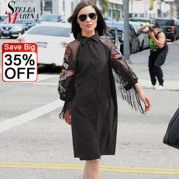 New Woman Plus Size Black Casual Shirt Dress 3/4 Mesh Sleeves Eagle Embroidery Fringe Ladies Midi Straight Party Dress Robe 3398