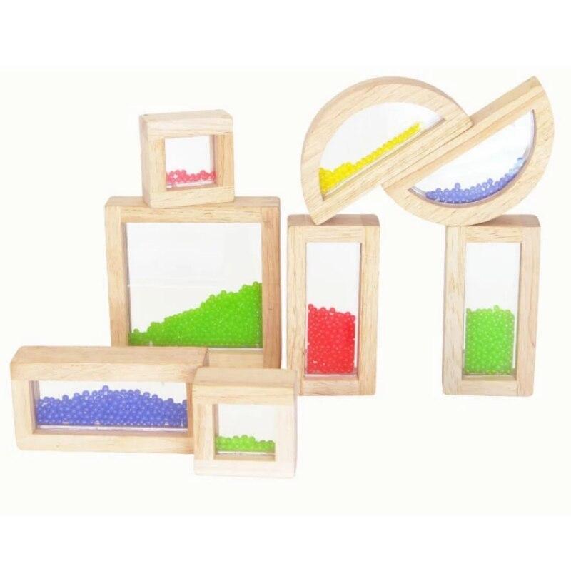 8pcs/set Wooden Sensory Locks With Beads Acrylic Blocks Montessori Early Educational Learning