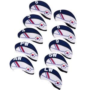 10PCS/Set Exquisite Golf Club Iron Head Covers Protector Golf Head Cover Sets Iron Club Head Cover Accessories