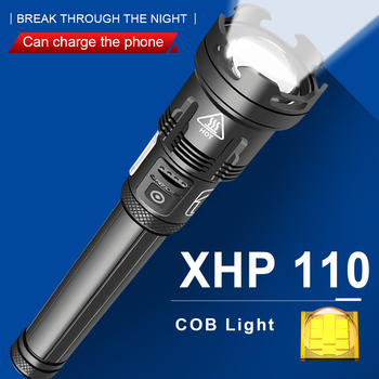 xhp110 most powerful led flashlight 10 core Rechargeable USB flash light led torch Zoom Tactical flashlight 18650 26650 hunting image