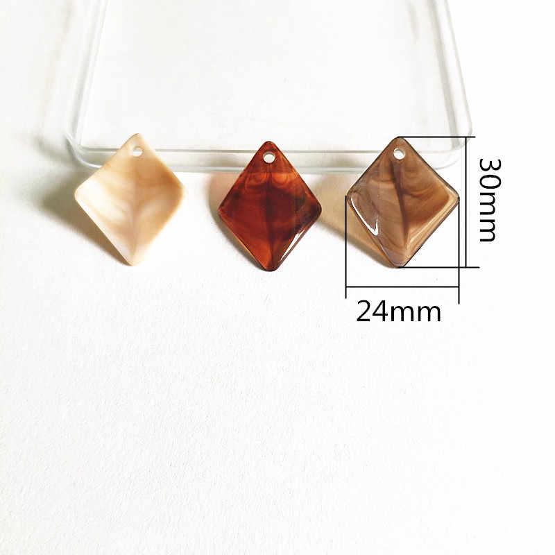 Baru! 30X24 Mm 200 Pcs Marmer Efek Melengkung Rhombu Bentuk Manik-manik Anting-Anting Aksesoris, buatan Tangan Perhiasan Anting-Anting Diy