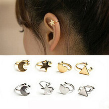 Luokey Fake Piercing Cartilage Ear Cuff For Women Silver Color Little Star Heart