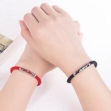 2 unids/set Vintage pareja a través de-tallado encanto amantes pulsera regalos novio novia joyería rojo/Negro Color para mejor amigo