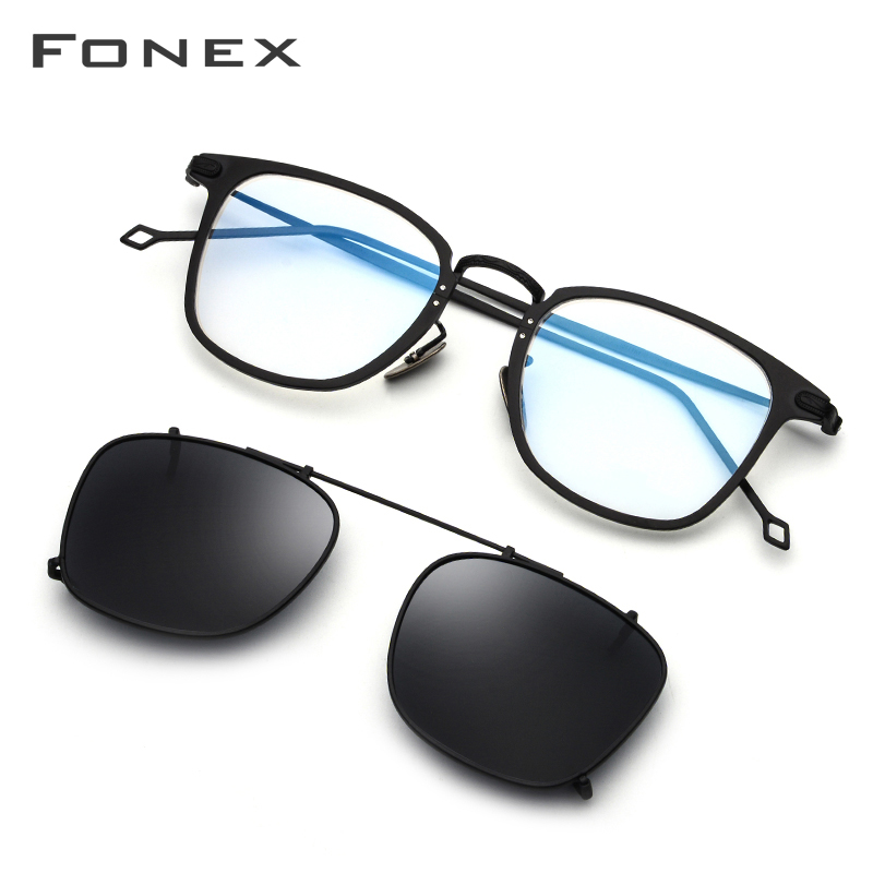 FONEX Pure Titanium Glasses Men Clip On Polarized Sunglasses Prescription Square Eyeglasses Frame Myopia Optical Eyewear 503