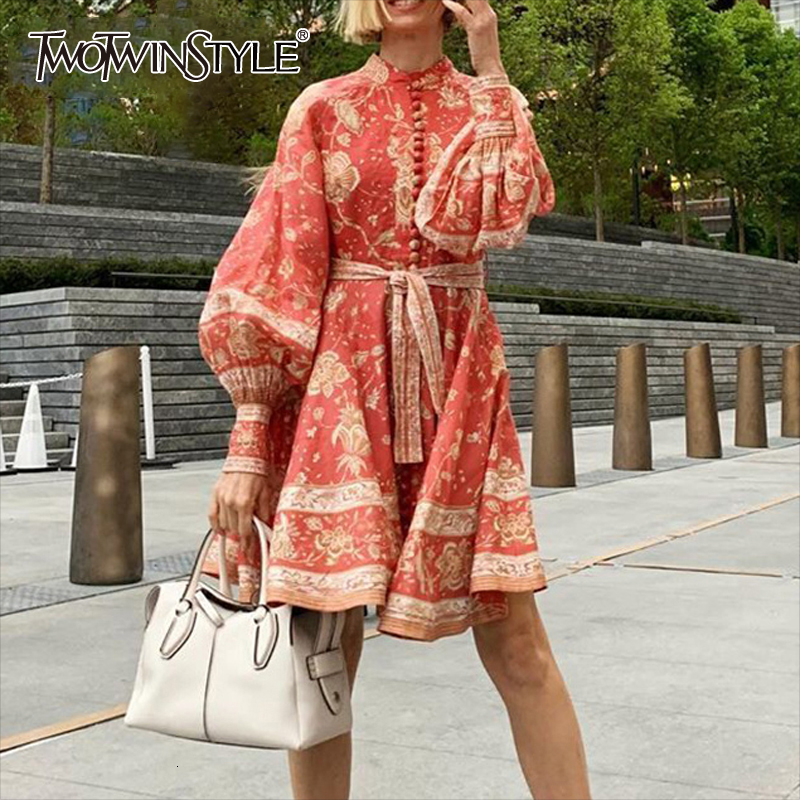 TWOTWINSTYLE Vintage Floral Print Lantern Long Sleeve Sash Lace Up Waisted Button Down Red Mini Dress Women 2019 Autumn Fashion