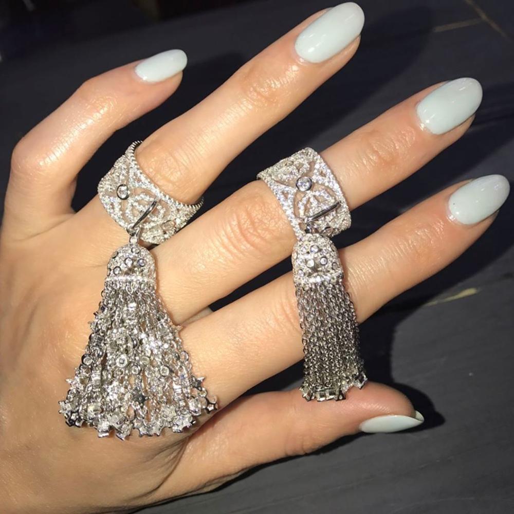 Anneaux de gland de femmes avec la brosse d'étoile poids environ 21gr bijoux en argent Sterling pur grand anneau de Cocktail pour l'engagement de mariage - 2