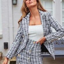 2020 spring Two-piece set plaid tweed women suit Casual streetwear blazer suits