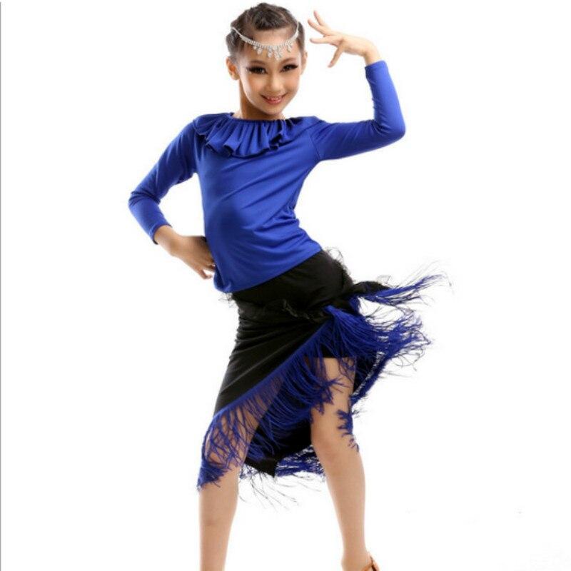 New Latin Dance Costumes Girls Children Long-sleeved Latin Dance Skirt Children's Dance Clothing Children's Stage Performances