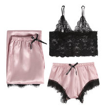 3 pcs Set 2020 Summer Lace Homewear Women Lingerie Women Sleepwear Silk Pajamas Sexy Chest Pad Nightwear Women #4(China)