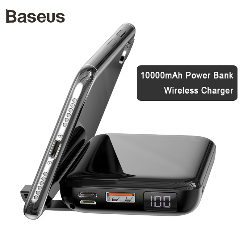 Baseus 10000mAh Power Bank 10W QI Wireless Charger And 18W Wired Fast Charger PD + QC3.0 Powerbank For IPhone Samsung Huawei