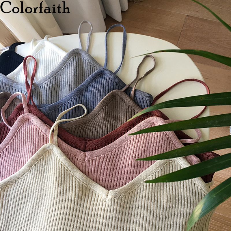 Colorfaith New 2020 Spring Summer Women Tops Knitting Solid Multi Colors Tank Sexy Basic Lady Bottoming V-Neck Vest Tops V6103