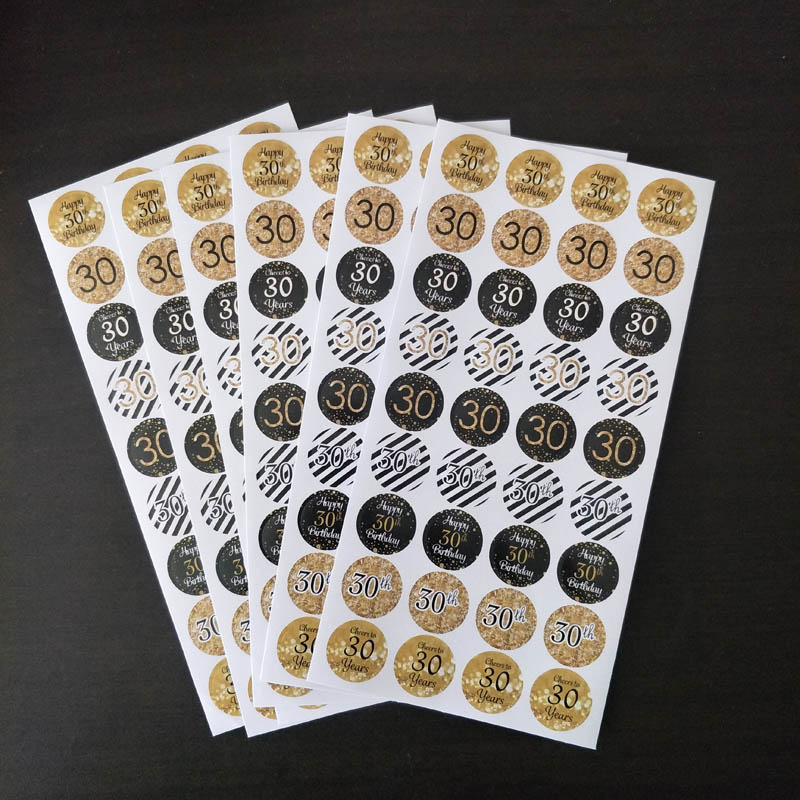 216pcs Gold Black <font><b>18</b></font> 30 40 50 60th <font><b>Birthday</b></font> Sticker Adults Sticker Labels Anniversary party <font><b>Decoration</b></font> Gift Sticker image