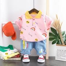 Neue Kurzen ärmeln Anzug Sommer Baby Jungen Kleidung Baby Walker Baby Mädchen Kleidung Regenbogen Brief Drucken T-shirt Tops Shorts 2 stücke Tuch