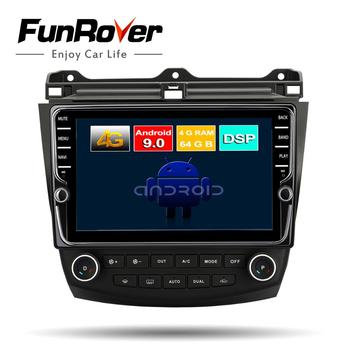 FUNROVER Octa 8 Core android 9.0 car dvd multimediaplayer for Honda Accord 7 2003-2007 radio gps navigation stereo DSP headunit