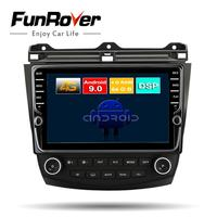 FUNROVER Octa 8 Core android 9.0 car dvd multimediaplayer for Honda Accord 7 2003 2007 radio gps navigation stereo DSP headunit