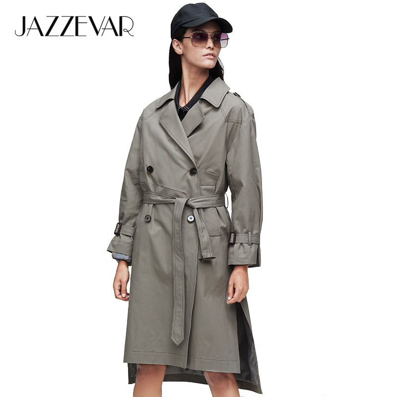 JAZZEVAR 2019 New Arrival Autumn Trench Coat Women Clothing With Belt Double Breasted Long Trench Coats Wide-waisted Loose 9005