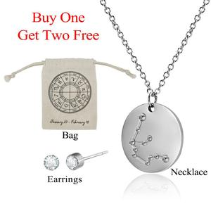 Engraved Zodiac Sign 12 Constellation Necklace Charm Stainless Steel Aries Virgo Leo Pendant Necklaces Unisex Jewelry DIY Gift