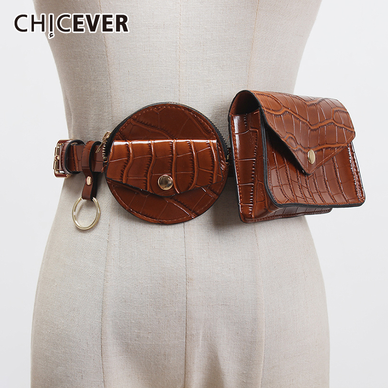 CHICEVER Pu Leather Black Mini-bag Split Joint Cool Long Belt Personality Women New Fashion Tide All-match Spring 2020
