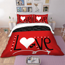 Wongs bedding Love Heart Bedding Set Red Color Duvet Cover Pillowcase Bedclothes Home Textiles