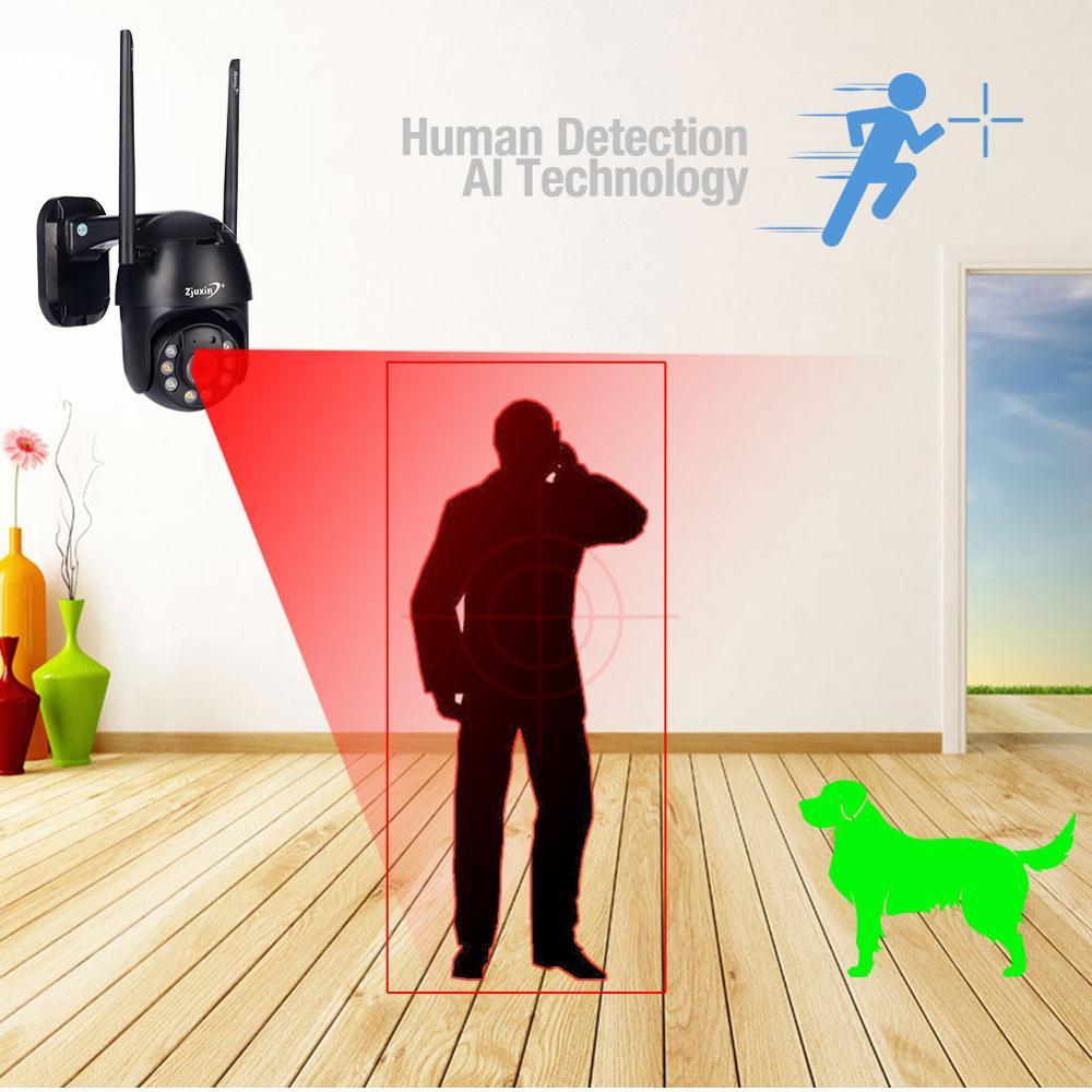 Cámara IP Zjuxin PTZ WiFi HD1080P cable inalámbrico PTZ cámara de seguridad exterior CCTV Camra doble Luz de detección humana AI nube - 2