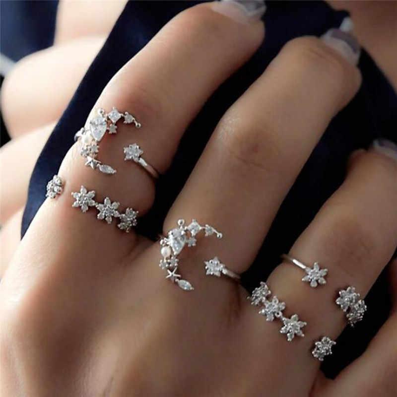 5 sztuk/zestaw eleganckie boho srebrne słoń księżyc gwiazda kryształowy pierścień otwierający zestaw Retro pierścienie dla kobiet biżuteria akcesoria