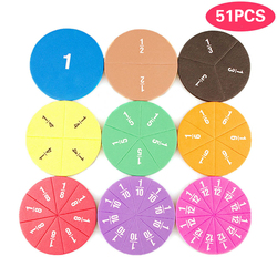 51Pcs Fractions Math Teaching Tool EVA Round Shape Instrument Kids Montessori Early Educational Math Development STEM Toy Gifts