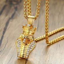 Biżuteria Hip Hop Vnox Rock złoty Tone Cobra wisiorek z AAA CZ kamienie wąż naszyjniki dla mężczyzn odzież uliczna 24