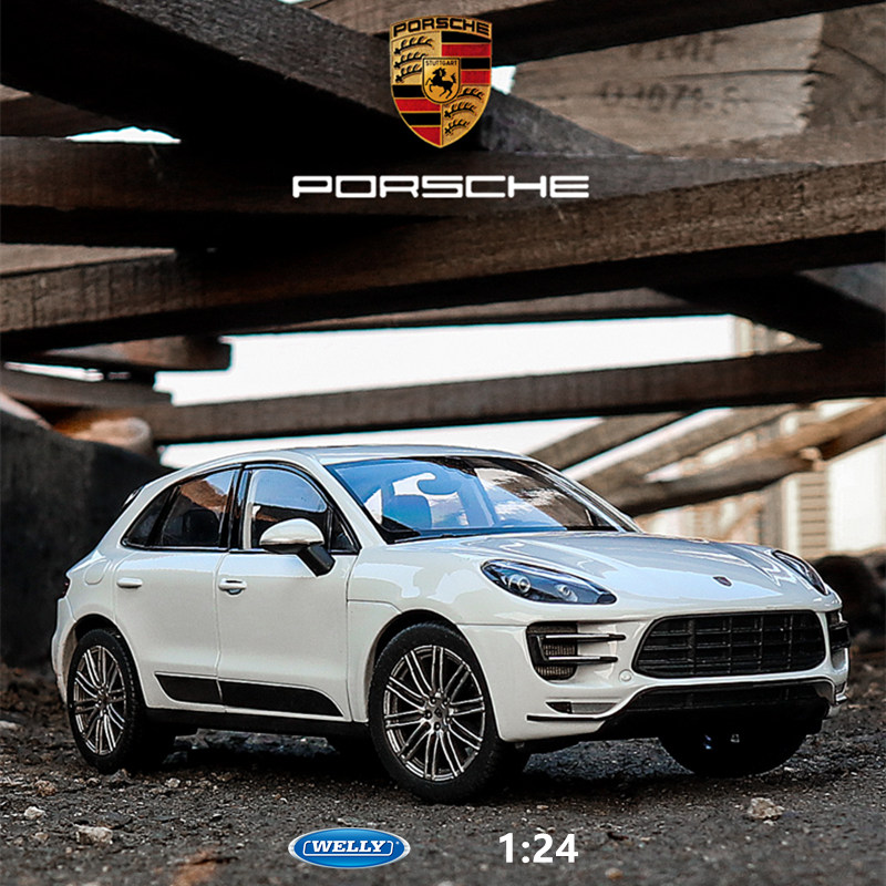 Welly 1:24 Porsche Macan White Car Alloy Car Model Simulation Car Decoration Collection Gift Toy Die Casting Model Boy Toy