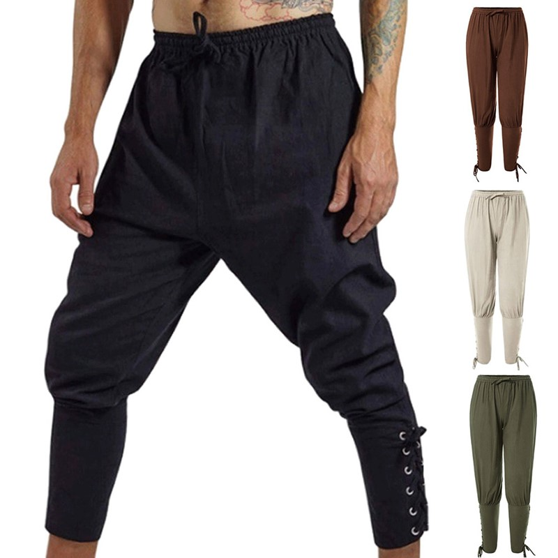 Trendy Men Solid Color Drawstring Causal Loose Harem Pants Pencil Trousers Medieval Men's Trousers Pirate Clothes Linen Pants