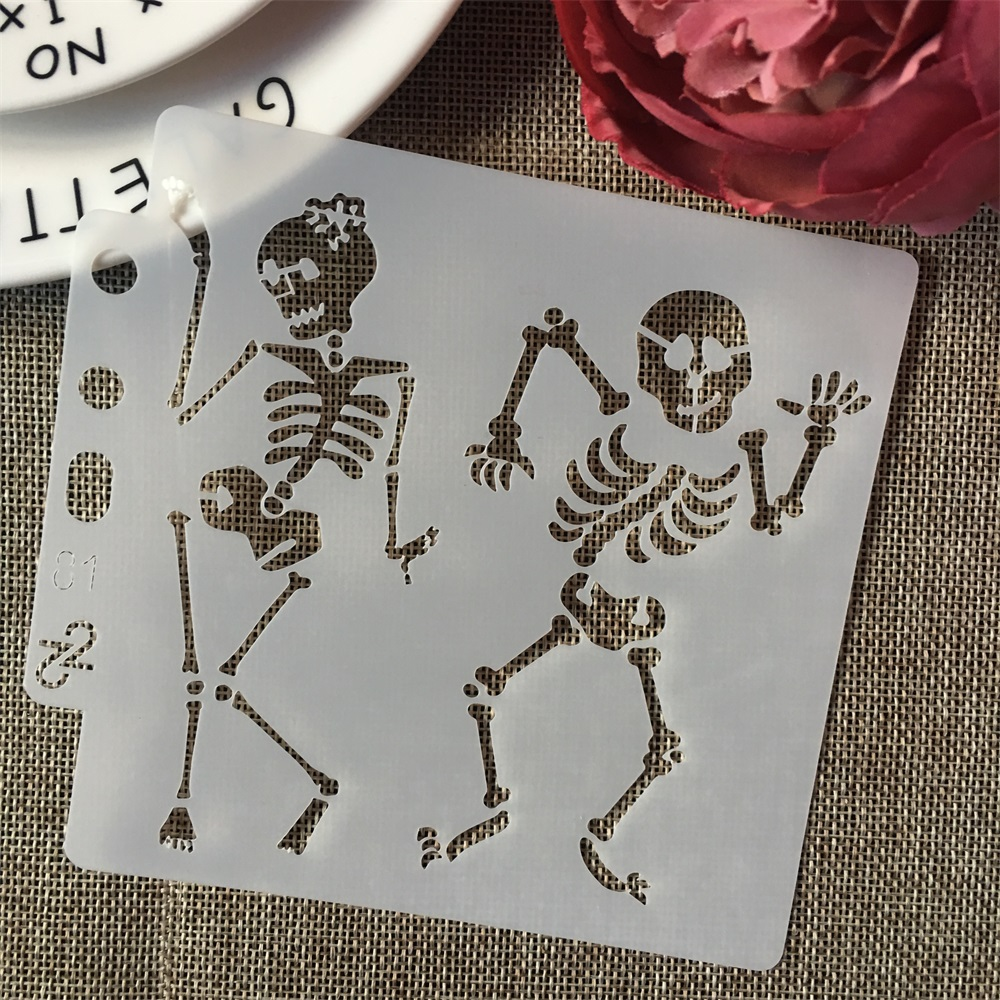 5inch Lady Man Dancing Skeleton DIY Layering Stencils Painting Scrapbook Coloring Embossing Album Decorative Card Template