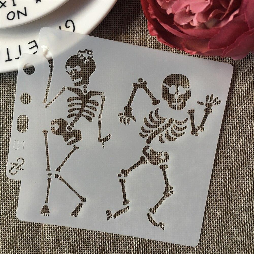5inch Lady Man Dancing Skeleton DIY Layering Stencils Painting Scrapbook Coloring Embossing Album Decorative Card Template
