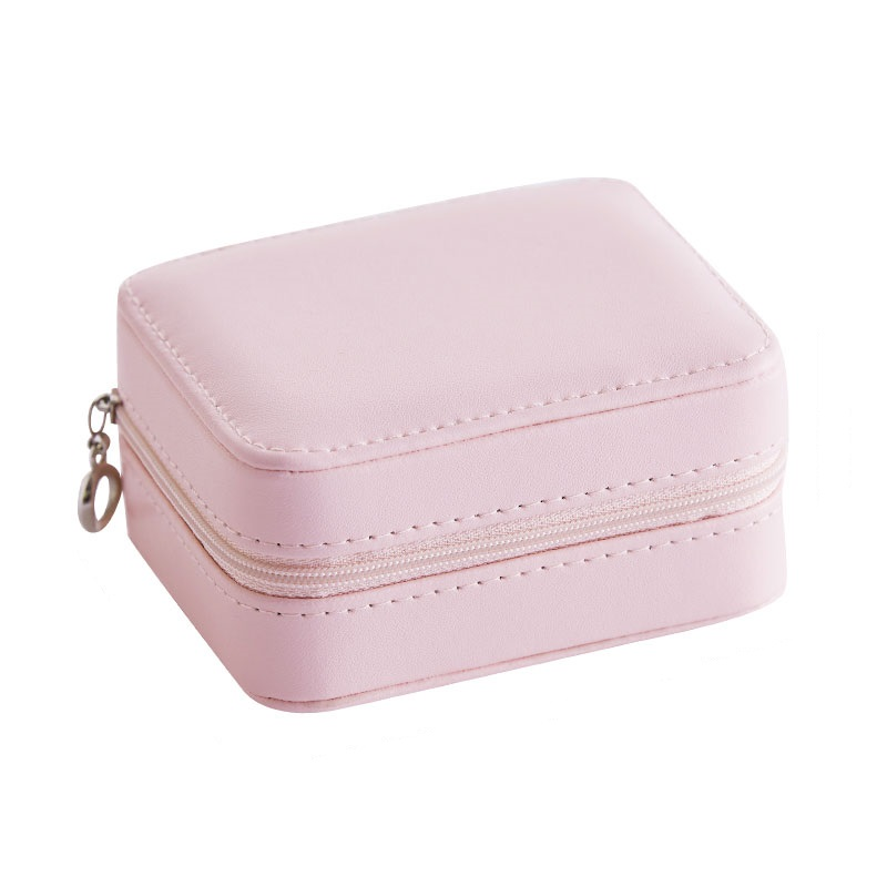Portable Mini PU Jewelry Box With Zipper Ring Case Earring Storage Girl Travel Gift Women Necklace Casket