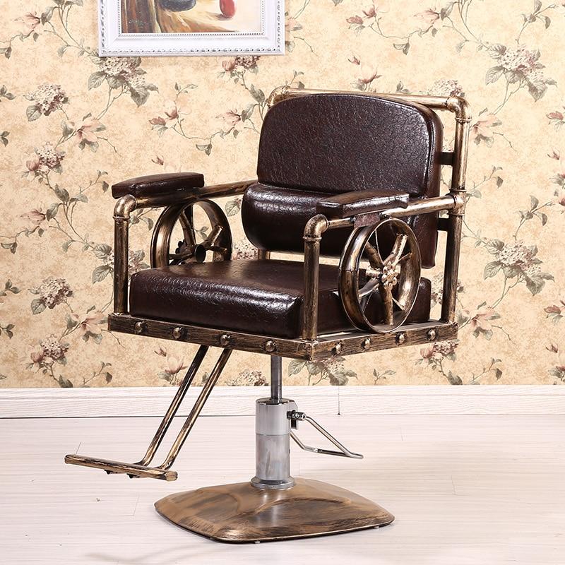 Wrought Iron Retro Barber Chair Hairdressing Chair Haircut Chair Chair Chair Barber Shop Chair Hair Salon Beauty Salon Chair