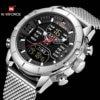 NAVIFORCE Military Sports Watch Men Dual Time Analog Digital Clock Calendar Mesh Strap Quartz Mens Watches Top Brand Luxury 2019