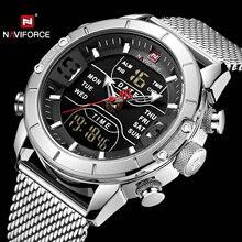 Naviforce relógio esportivo masculino, relógio de tempo duplo analógico digital com calendário, pulseira de malha de quartzo, relógios de luxo de marca superior, 2019