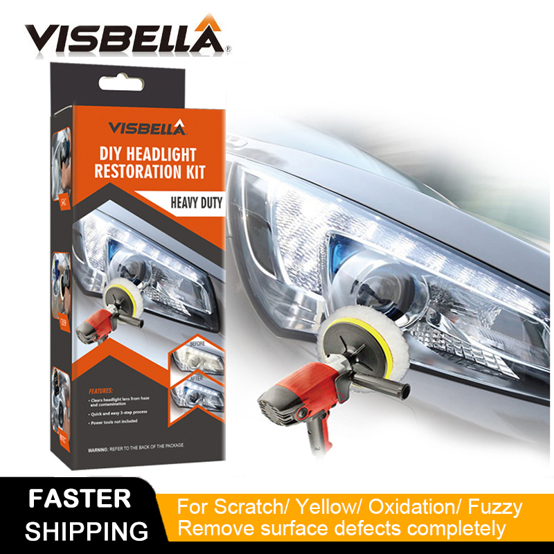 VISBELLA Headlamp Polishing Paste Kit DIY Headlight Restoration for Car Care Repair Hand Tool Sets Head Lamp Lenses by Machine|Hand Tool Sets| |  - title=