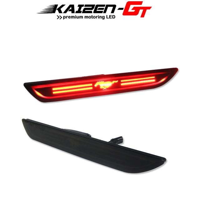 Smoked Lens Red LED 48 SMD 3D Mustang Design Rear Bumper Side Marker Lights For 2015 2018 Ford Mustang Fender Side Marker Lights