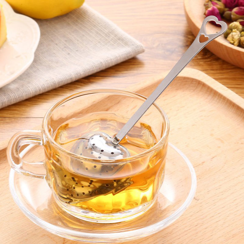 Heart Shape Stainless Steel Tea Strainer Infuser Teaspoon Spoon 4*14cm