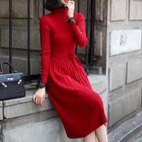 Mode Pullover Kleid Frauen Gestrickte Pullover Kleider Koreanische Frau Pullover Gefaltete Kleider Vestidos De Fiesta Vintage Kleid Frauen