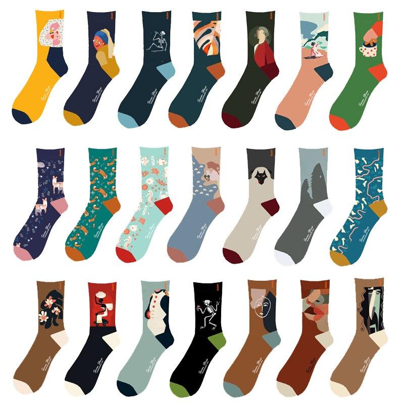 3 Pairs/Pack EUR Size 36-44 Unisex Painting Style Men Socks Van Gogh Cotton Crew Socks Men Streetwear