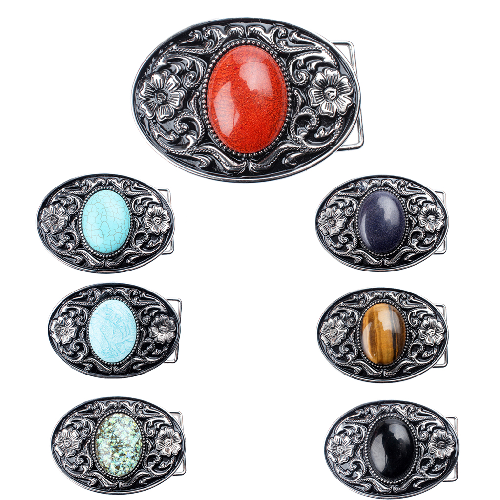4x3cm Gemstone Oval Belt Buckles For Women Men Jewelry Vintage Tang Dynasty Design Flower&Glass Pattern Gorgeous Bulge Smooth